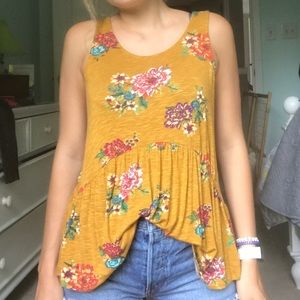 Yellow summer floral blouse